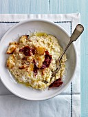 Risotto with leeks,croutons and bacon