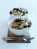 Pasta with mushrooms,lentils and feta