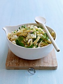 Fusilli with brousse cheese,chicken,lemon zests and mint