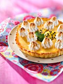 Lemon and passion fruit meringue pie