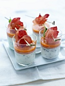 Tzatziki with red pepper puree and Aoste ham