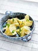 Cheese and herb raviolis