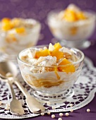 Diced mango with meringue and lemon curd