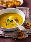 Curried orange lentil soup