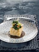 Salt-cod, Swiss chard, almond and black garlic appetizer