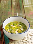 Lettuce, mushroom, carrot and chive soup