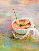 Watermelon gazpacho with Dublin Bay prawn brochettes