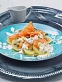 Potato, smoked salmon and caper salad