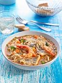 Moustelle de roche and shrimp risotto