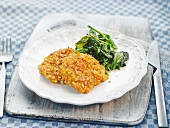 Breaded veal escalope with spinach