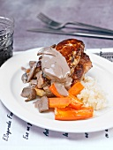 Pan-fried foie gras steaks with creamy mushroom sauce