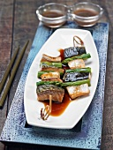 Mackerel and green asparagus brochettes, teriyaki sauce