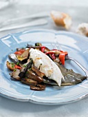 Turbot with mushrooms and peppers