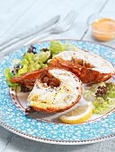 Cold spiny lobster with lettuce salad