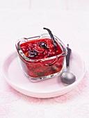 Vanilla-flavored stewed summer fruit