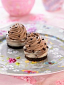 Chocolate marbled cheesecake-style cupcake