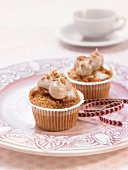 Pear and chestnut cream cupcakes