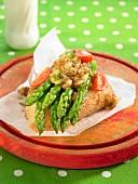 Green asparagus and onion jam open sandwich