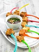 Fried tofu with beetroot puree