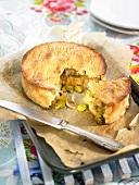 Mushroom and broad bean pie