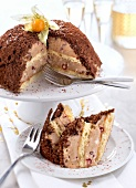 Chestnut cream and pomegranate seed dome cake