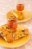 Glasses of Santo wine and Cantucci