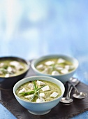 Cream of zucchini and goat's cheese soup