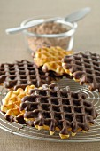 Waffles coated in chocolate on one side