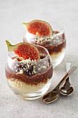 Semolina pudding with fig jam