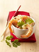 Peeled shrimps with herbs