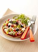 Vegetable and mozzarella mini pizza