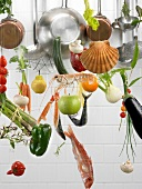 Hanging cooking implements and food