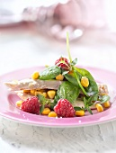 Baby spinach leaf,chicken,raspberry and sweet corn salad