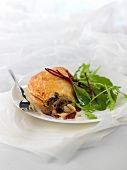 Lamb and eggplant turnover, Syrah gravy