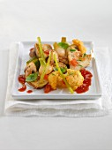Poivrade artichokes with vegetables, concentrated tomato paste and coriander seeds
