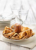 Crêpes soufflées with salted butter toffee sauce