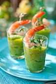 Guacamole with fresh coriander and shrimp tails