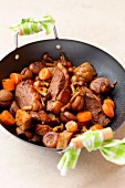 Pan-fried duck with carrots,mushrooms,chestnuts and croutons