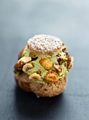 Pistachio and dried fruit cream puff
