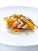 Fennel,carrot and salmon cooked on one side thin tart