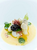 Sallops with caviar,raw ham crumbs,white asparaus tops and squash juice