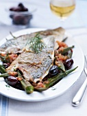Sea bream with ocras and olives