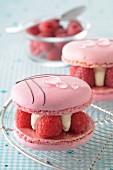 Raspberry-lychee macaroons