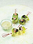 Mini stuffed cabbage leaf brochettes for an aperitif