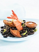 Black beans with mushrooms and Dublin Bay prawns