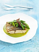 Croaker with green beans and cream of peas