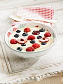 Vanilla cream dessert with summer fruit
