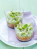 Cucumber and salmon tartare duo with a touch of radish