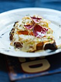 Reblochon and pear toasted open sandwich with radicchio di treviso lettuce