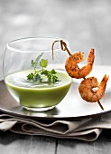 Chilled cream of avocado soup with sauteed paprika shrimps